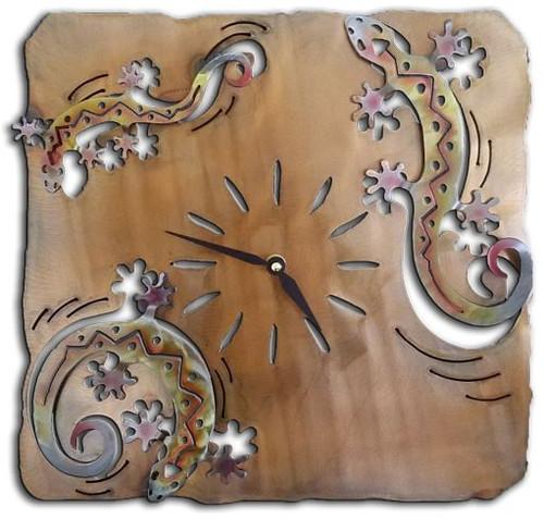 "Arizona Lizard Clock SunSet Swirl Finish 13"""