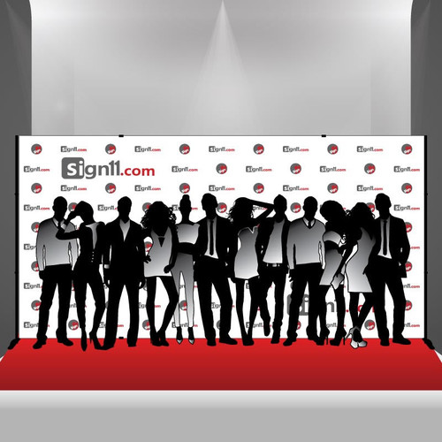 Step and Repeat Banner 16x8 with Stand and Red Carpet
