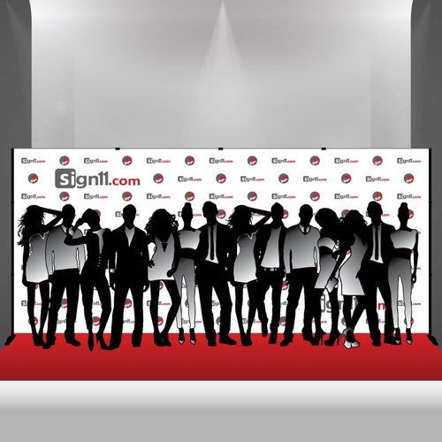 Step and Repeat Banner 18x8 with Stand and Red Carpet