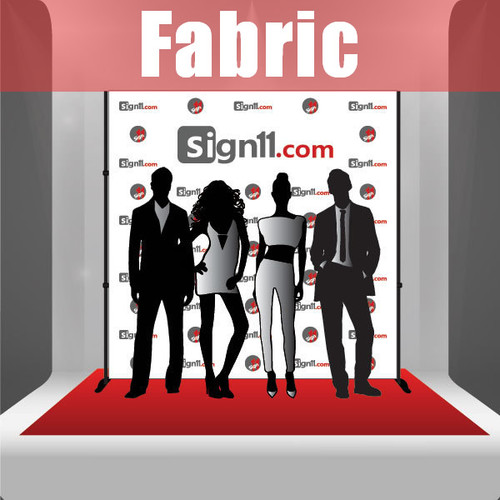 Fabric Step and Repeat Banner with stand and red carpet 8'x8'
