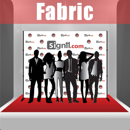 Fabric Step and Repeat Banner with stand and red carpet 10'x8'
