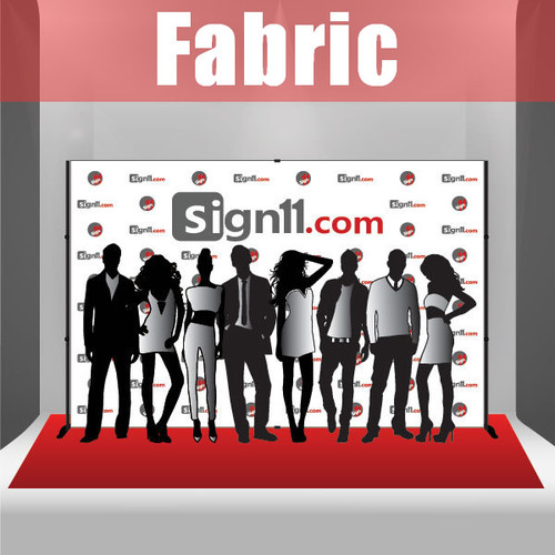 Fabric Step and Repeat Banner with stand and red carpet 12'x8'