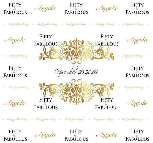 Fifty Fabulous Birthday Backdrop 7009