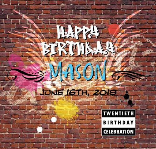 20th Birthday Graffiti hip hop wings paint-drop backdrop