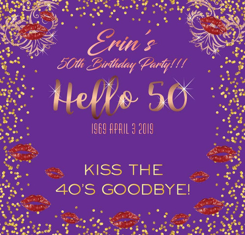 Hello 50th Birthday Backdrop 5065