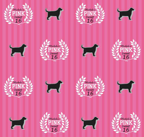 Sweet 16 Backdrop 5090, Sweet16_PINK_Wreath_Dog_Stripes_GrayWhitePink