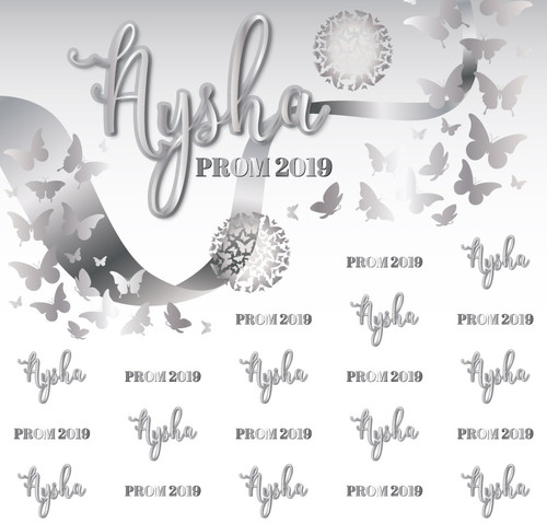 Prom Backdrop 5096, Prom_Calligraphy_Butterflies_Ribbon_SilverWhite