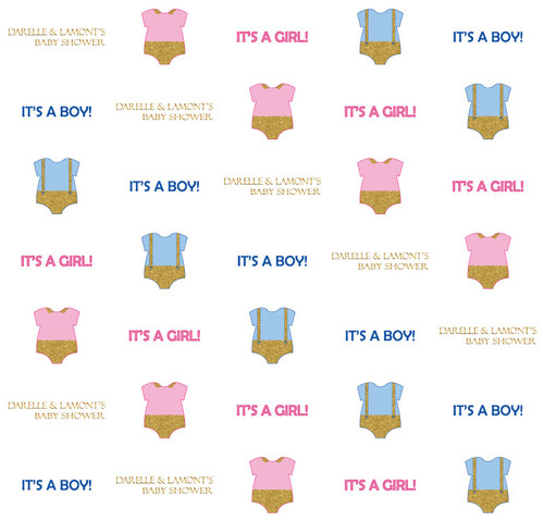 Baby Shower Backdrop 5097, BabyShower_Onesies_Twins_GirlorBoy_GoldPinkBlue