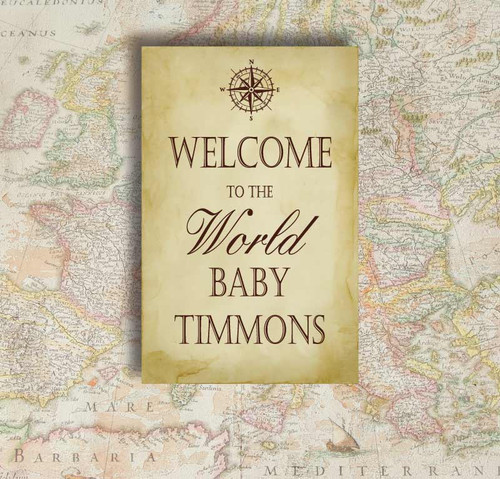 Baby Shower Backdrop 5098, BabyShower_Welcome_WorldMap_Compass_Papyrus