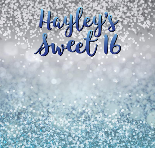 Sweet 16 Backdrop 5077, Sweet16_WhiteBokeh_GraytoBlue_Gradient