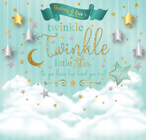 Baby Shower Backdrop 5100, BabyShower_Twinkle_LittleStar_MintGoldSilver