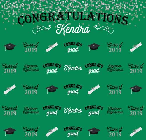 Graduation Backdrop 5102,  Congrats_Grad_HighSchool_Cap_Diploma_White,Green,SilverGlitter