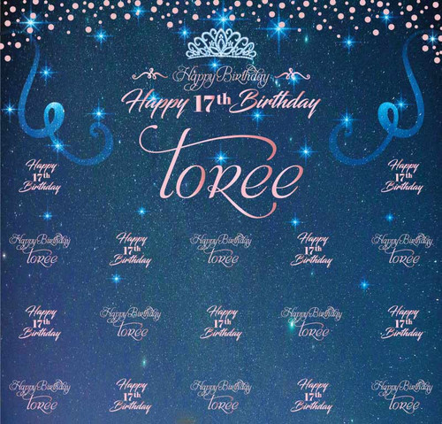 Birthday Backdrop 5105, 17th_Bday_StarryNight_Sparkle_Dots_Tiara_BlueRosePink