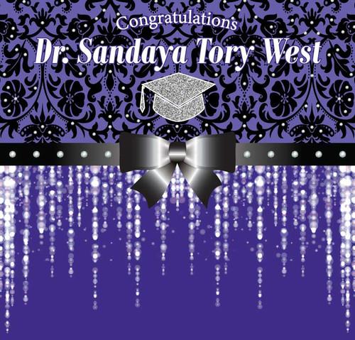 Graduation Backdrop 5106, Congrats_Dr_Damask_GradCap,Bow,Sparkles_PurpleSilver