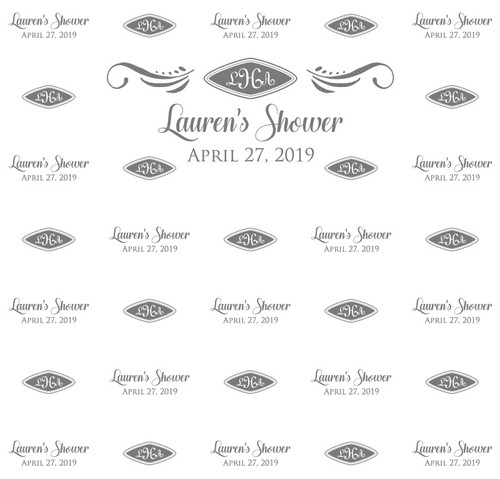 Bridal Shower Backdrop 5107, BridalShower_Monogram_Wings_Diamond_Gray