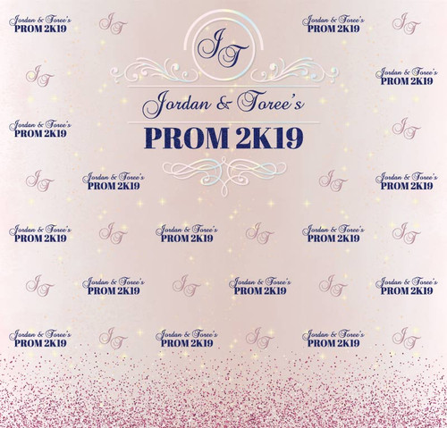 Prom Backdrop 5108, Prom2K19_Initials_Glitter_Rose,Fuschia,Navy,Opal