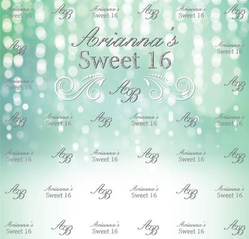 Sweet 16 Backdrop 5112, Sweet16_FallingLights_SilverGlitter_Initials_MintGreenWhite