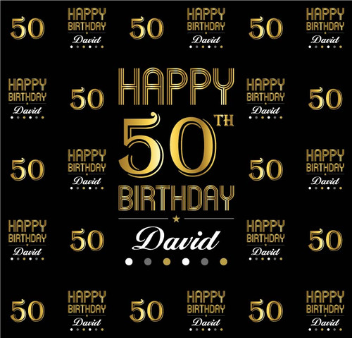 Birthday Backdrop 5116, 50th_Bday_DotsofSilver,Gold,Black