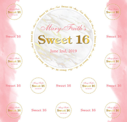 Sweet 16 Backdrop 5117, Sweet16_Circles_Marble_Watercolor_Gold,Pink,White