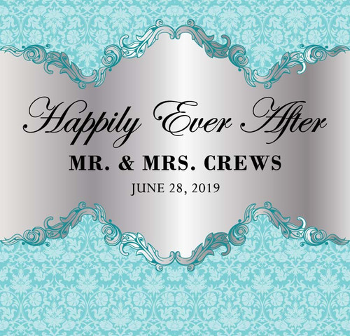Wedding Backdrop 5119, Wedding_HappilyEverAfter_Damask_Silver,Black,RobinEggBlue