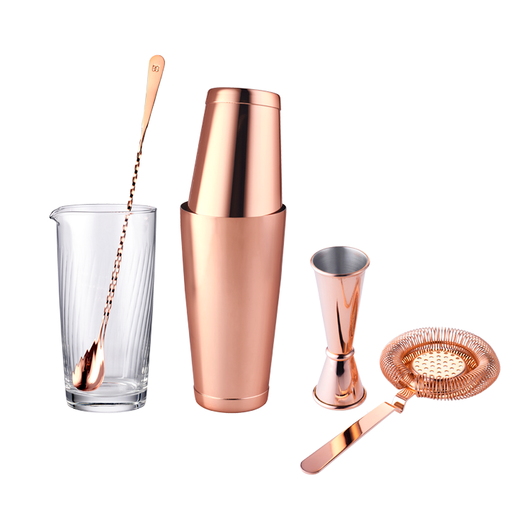 Copper cocktail set