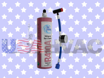 R410A-PRO R410a -  Pro ChargeRefrigerant with UV Dye & Leak Sealant Gauge Included
