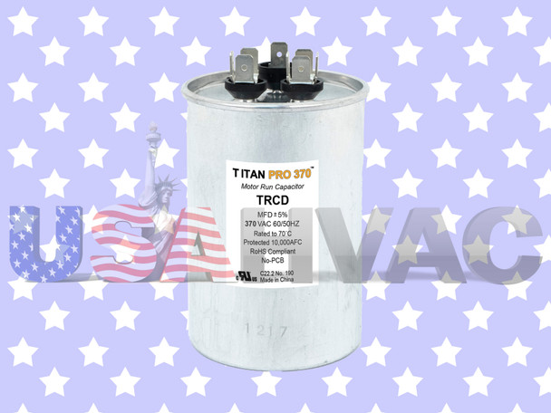TRCD355 - Packard Titan Pro Motor Run Capacitor 35+5 MFD uF 370 Volt Round