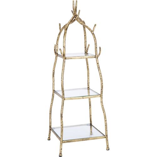 Aged Gold Vine Tabletop Display w/ 3 glass shelves