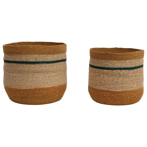 Seagrass Basket Collection with Blue Stripe