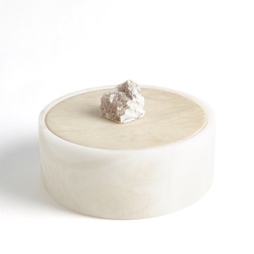Alabaster Round Box w/ Rock Finial