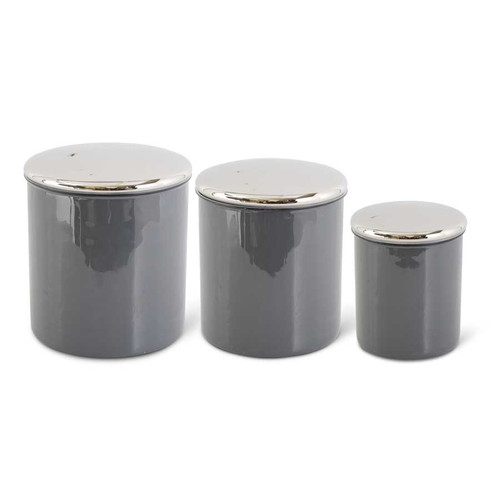 Gray Enamel Canister Set of Silver Lids