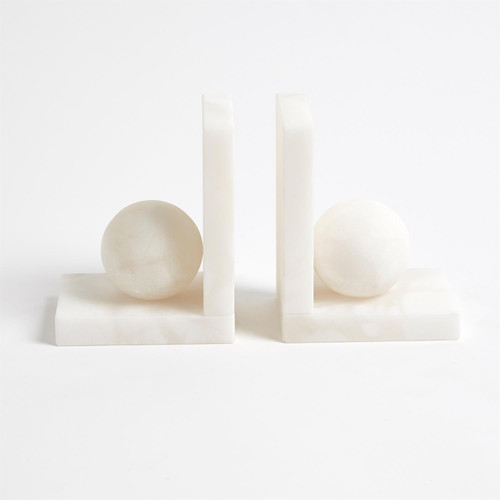 Alabaster Ball Bookends