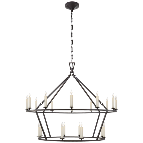 Large Two-tiered Aged Iron Chandelier