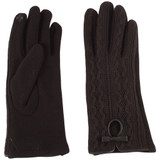 Womens glove, Polyester, fancy knit top with cutout and bow accents, teo texting fingers, wholesale