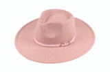 Womens Hat - Polyester Felt, Large brim fedora, leatherette tie with buckle around crown, Wholesale