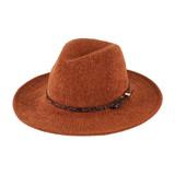 Womens Hat - Chenille, Large brim fedora, cheetah hat band around crown, Wholesale