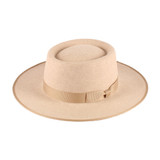 "Womens Hat - Wool Felt, 3"" Brim, Gambler Crown, ribbon trim around crown and brim edge, bow accent, Wholesale"