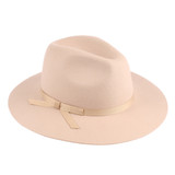 """Womens Hat - Wool felt, 3"""" brim, pinch fedora crown, ribbon hat band with simple bow, Wholesale"""