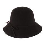Womens Hat - Polyester/wool, medium brim hat, wire in brim, matching trim tie, Wholesale