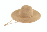"""Womens hat - Paper-Poly mix, 4"""" brim, fedora crown, chin cord, elastic tie in sweatband, wholesale"""