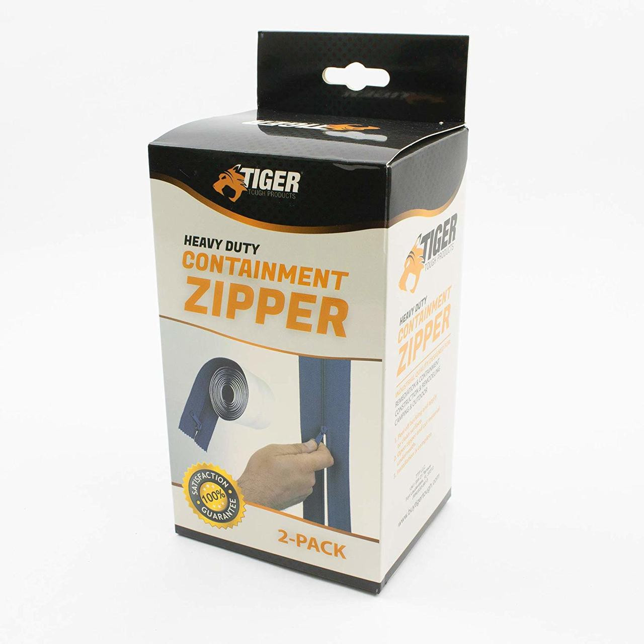 Tiger Tough Heavy Duty Adhesive Containment Zippers – 84 Inch Self Stick Zipper for Dust Barriers, Containment Walls, Plastic Sheeting, Tarp, Construction, Remediation, Camping & More