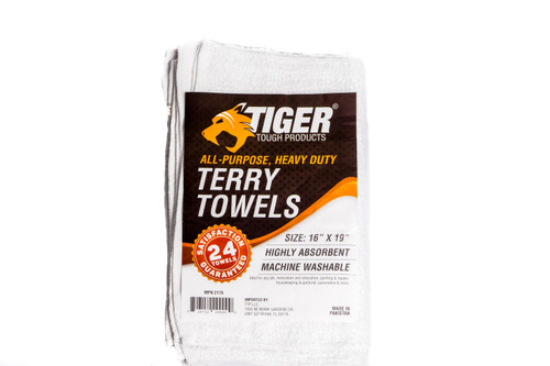 "Tiger Tough Terry Towels Pack of 24, White, 16"" x 19"""