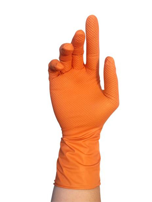 Tiger Paws 8 MIL Dual-Layer Disposable Nitrile  Glove, Large, Orange