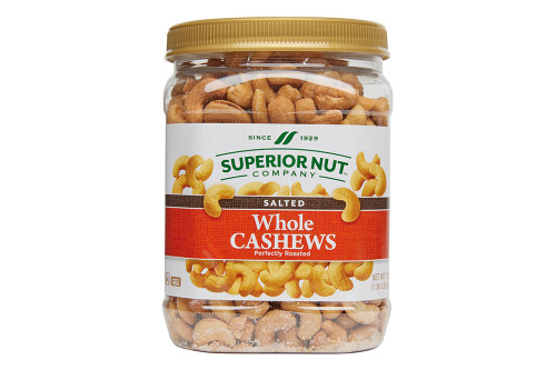 Roasted & Salted Whole Cashews, 30oz Jar