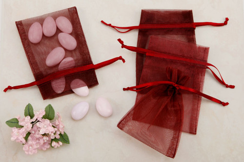 Burgundy Organza favor Bags (pack of 10)