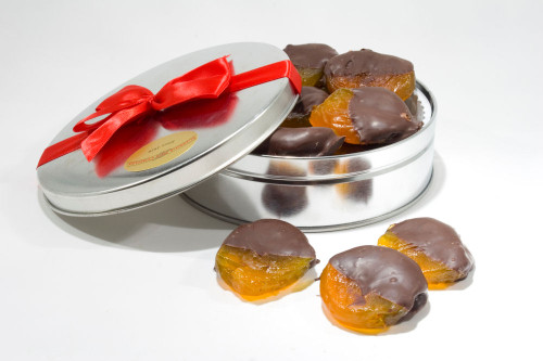 Dark Chocolate Dipped Glazed Apricots