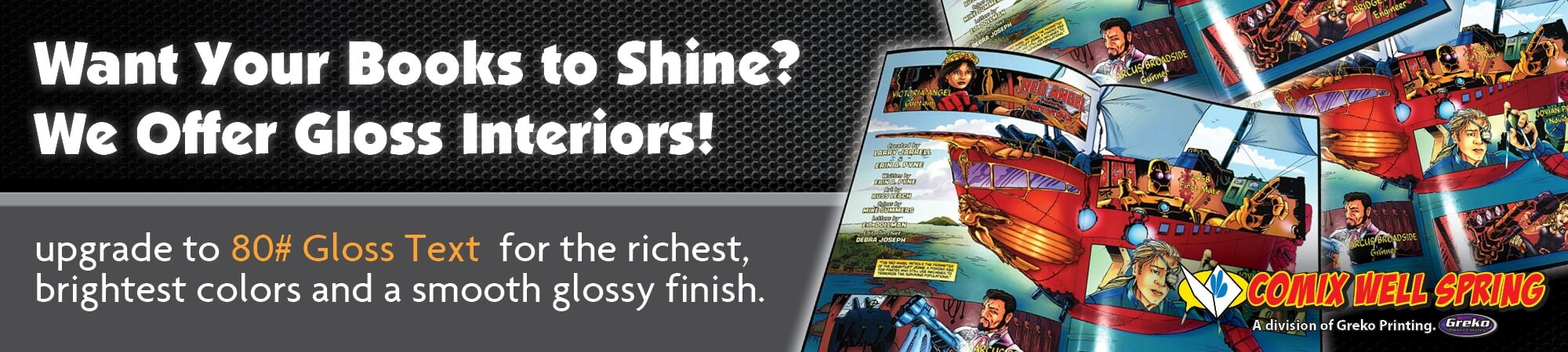 Comic book printing services with gloss interiors in Plymouth, MI