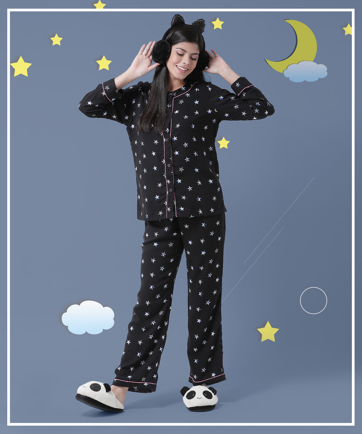 A Sky Full of Stars Women's Rayon- Cotton  Night Suit