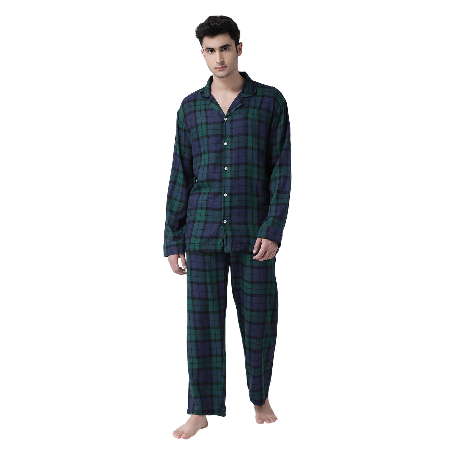 Plaid Lad Men's Rayon-Cotton Night Suit Set
