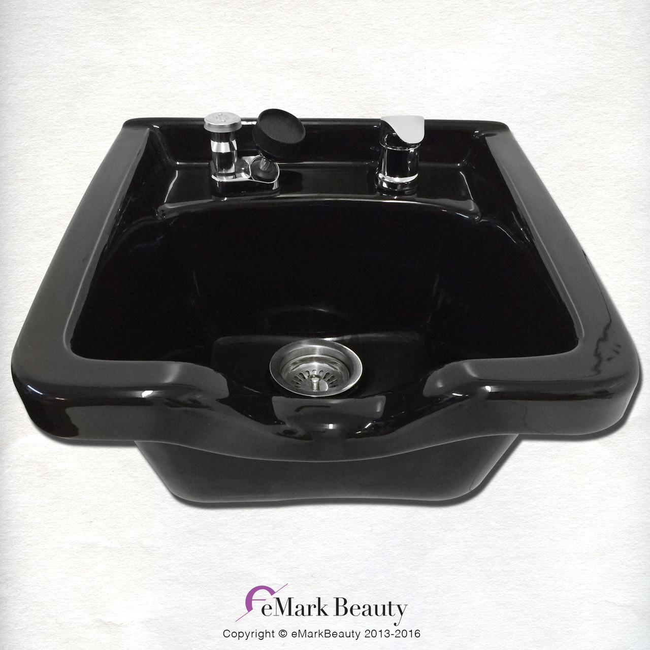 eMark Square Black ABS Plastic Shampoo Bowl for Salons and Barbershops TLC-B11